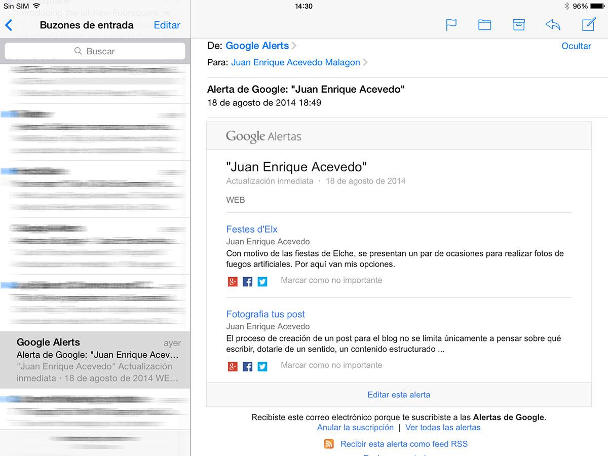 email recibido desde Google Alerts