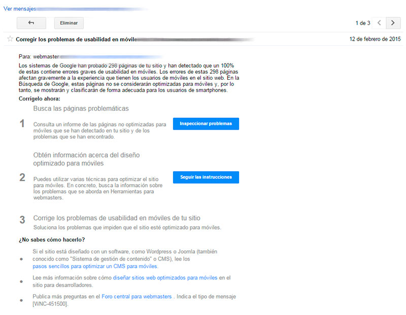 Aviso Google Webmaster Tools