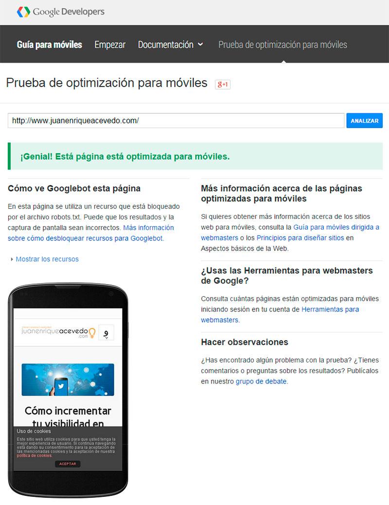 Prueba optimización para moviles de Google